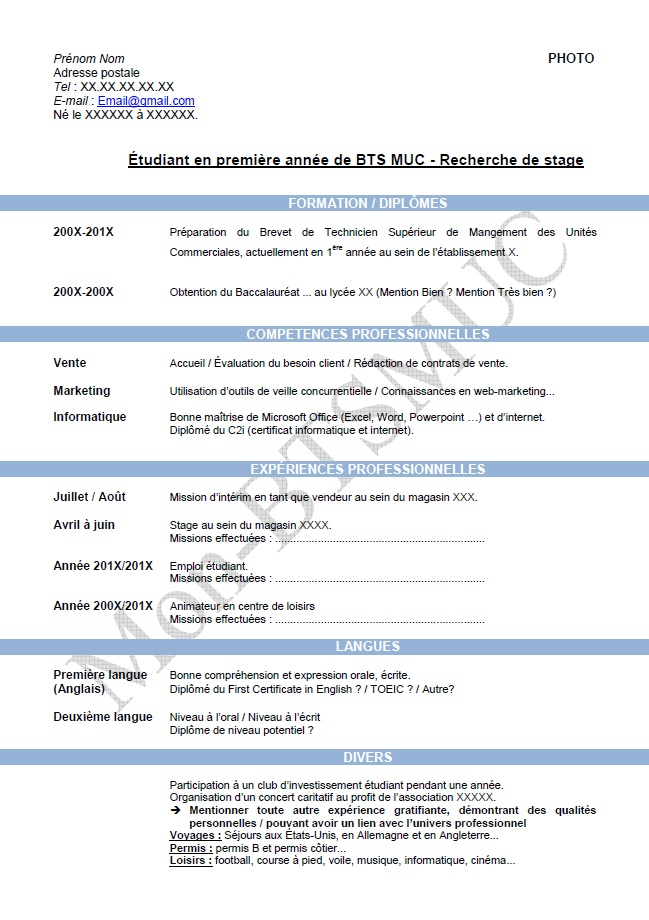 exemple cv nrc alternance